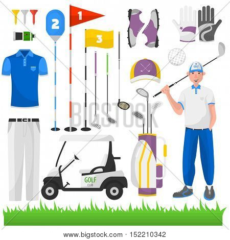 Set of game for golf. Vector icons of sports equipment: ball, cart and bag, grass and car, stick and glove, badge and aristocracy. Club for activity recreation and hobby.