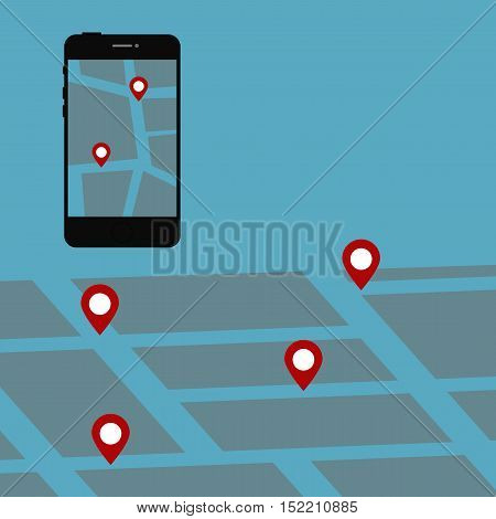 Telephone with virtual map and marks. Vector