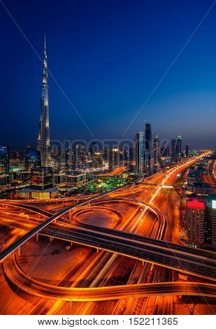 Amazing Night Dubai Downtown Skyline With Tallest Skyscrapers And Beautiful Sky, Dubai, United Arab