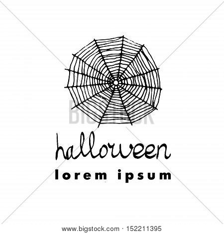 Spiderweb. Vector Illustration Of Cute Greeting Card For Halloween. Logo For Party.