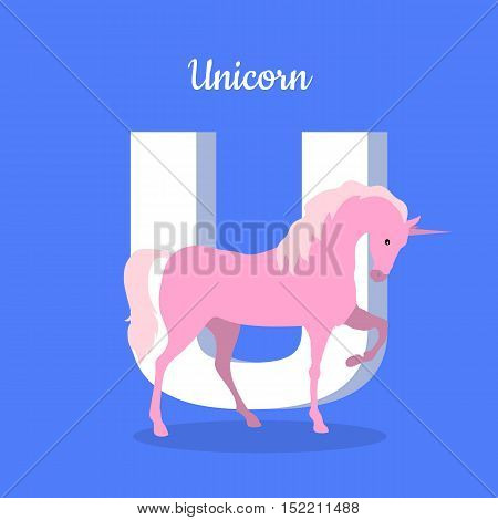 Animals alphabet. Letter - U. Pink unicorn stands near letter. Alphabet learning chart with fantastic character for letter and name. Vector fantastic alphabet with cartoon character on blue background