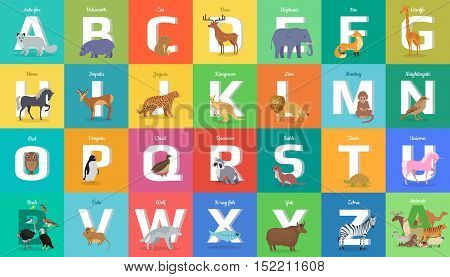 Animals alphabet. Letter from A to Z. Various animals stands or sits near letter. Alphabet learning chart with animals illustration for letter and animal name. Vector zoo alphabet with cartoon animals