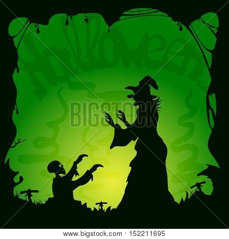 Halloween theme, old witch and zombie on green background, illustration.