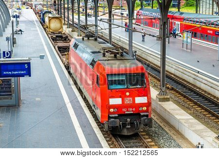 Lubeck, Germany - July 19, 2016: Freight train passes Lubeck Main Station