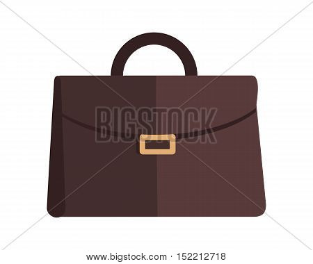 Briefcase vector illustration in flat style. Business equipment and attribute. Classic brown leather bag with lock. For travel concepts, bags stores ad, icons logo, web design. Isolated on white