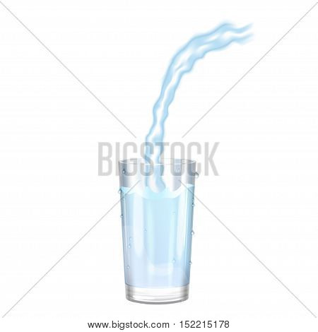 Water glass pouring water on a glass on white background. Vector illustration