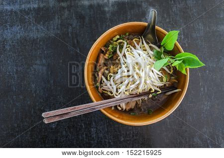 flatlay noodle food thai style and black table background