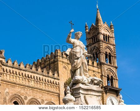 Cathedral Bell Tower With Monument Of Rosalia  Palermo In Sicily, Italy.