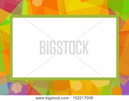 Festive photo frame on bright colorful background