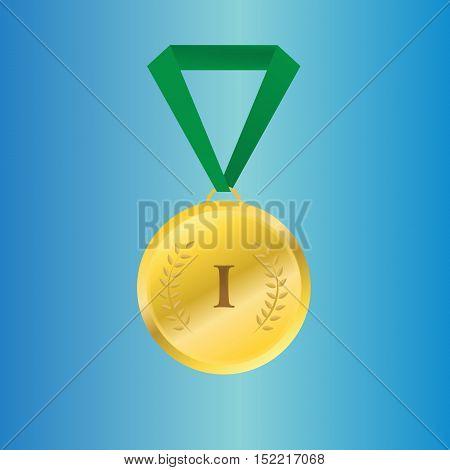 Vector gold medal on green ribbon with relief detail of laurel wreath and reflections conceptual of an award for victory winning first placement achievement or quality on grey background.