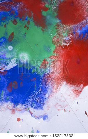 red, blue, green ink droplet spreads on paper