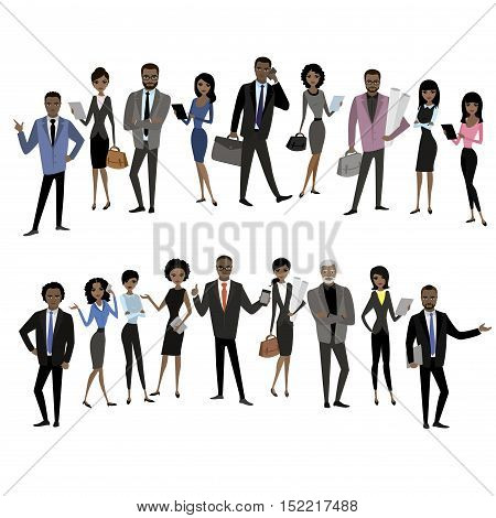 set of different african american businessman and business woman characters, avatars or app icons in trendy flat style isolated on white background, stock vector illustration
