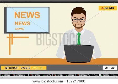 news anchor man header TV, stock vector illustration