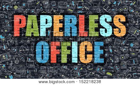 Paperless Office Concept. Modern Illustration. Multicolor Paperless Office Drawn on Dark Brick Wall. Doodle Icons. Doodle Style of  Paperless Office Concept. Paperless Office on Wall.