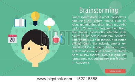 Brainstorming Conceptual Banner   Great flat illustration concept icon and use for brainstorming, design, development, analysis, creative idea, event and much more.