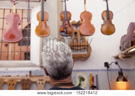 portrait of mature violin maker while looking the violins in his laboratory