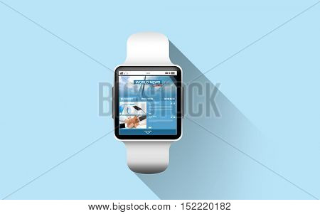 modern technology, mass media, object and media concept - close up of black smart watch with business news on screen over blue background