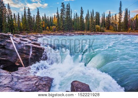 Scenic Athabasca Falls in Jasper National Park. Emerald water roars and foams on steep slope