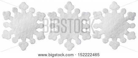 Snowflake Christmas Cloth Ornament Xmas Fabric Snow Flake Decoration White Isolated