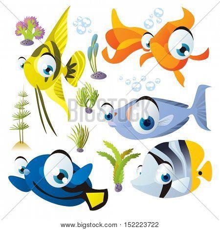 cute vector cartoon fish collection. colorful illustrations of sea life animals. scalar, goldfish, unicorn fish, surgeonfish, butterflyfish