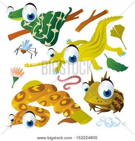 cute vector cartoon reptile collection. colorful illustrations of crocodile, python, horned frog, worm, boa
