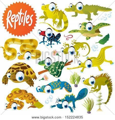 cute vector cartoon reptile collection. colorful illustrations of