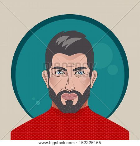 Avatar. Handsome man. Vector bearded brunette. Attractive brutal man in red sweater. Sexy male face with beard metrosexual. Beautiful people.