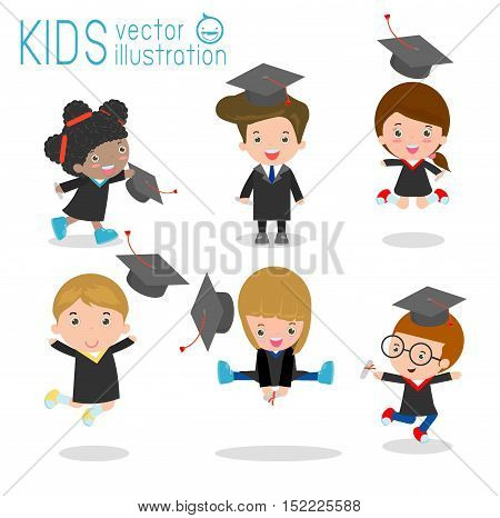 set of Graduation kids, happy child graduates, happy kids jumping, Graduates in gowns and with diploma, students graduation on white background, vector illustration