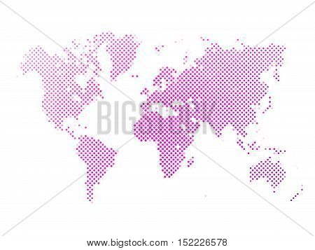 World map of pink dots on white background in corss arrangement. Map of world silhouette flat halftone vector theme.