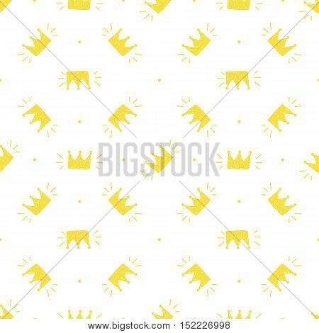 Cute yellow hand drawn, doodle crowns seamless pattern background.