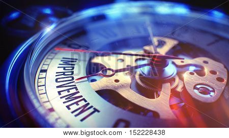 Improvement. on Watch Face with Close Up View of Watch Mechanism. Time Concept. Film Effect. Watch Face with Improvement Text on it. Business Concept with Light Leaks Effect. 3D Render.