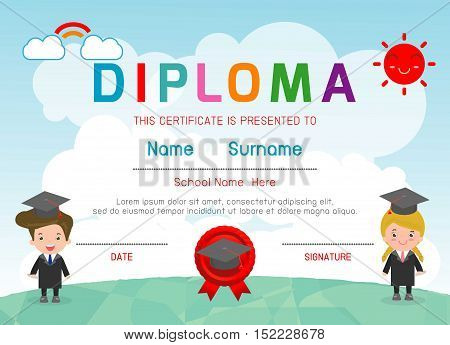 Certificates kindergarten and elementary, Preschool Kids Diploma certificate background design template, Diploma template for kindergarten students, Certificate of kids diploma, vector illustration