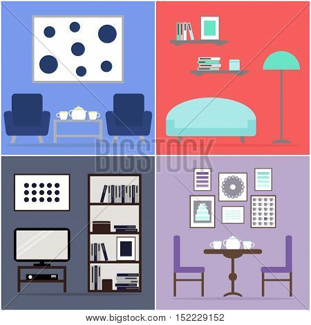Apartment set. Apartment furniture collection. Furniture for living room, dining room. Flat vector illustration design.