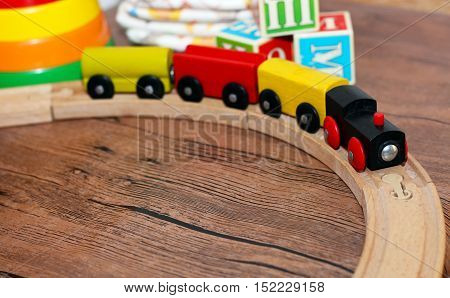 toys collection wooden train colored toys baby