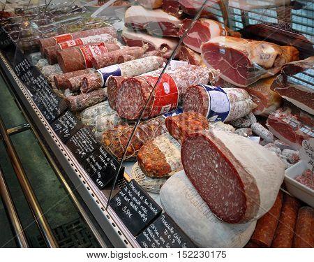 Stuttgart, Germany - April 19, 2014: Showcase butcher shop with various kinds of sausages. Stuttgart, Germany.