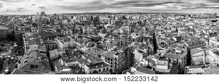Medieval old town of Valencia. Panoramic view of a third largest city in Spain. It is popular tourist destination with famous ancient and modern architecture landmarks. Black and white