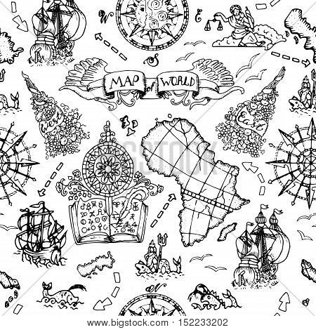 Seamless nautical background world vector photo bigstock seamless nautical background with world map elements ancient ships wind compass and marine symbols gumiabroncs