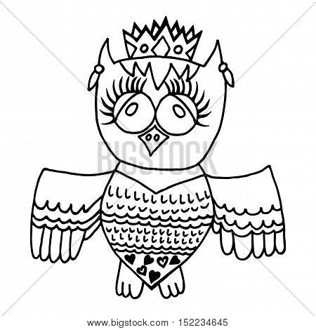 Cute owl in crone. Picture for adult coloring book page design child magazine banner template.