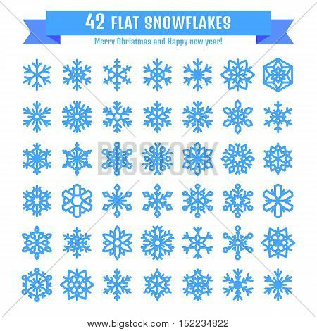 Cute snowflake collection isolated on white background. Flat snow icon snow flakes silhouette. Nice snowflakes for christmas banner cards. New year snowfall. Organic and geometric snowflakes set.