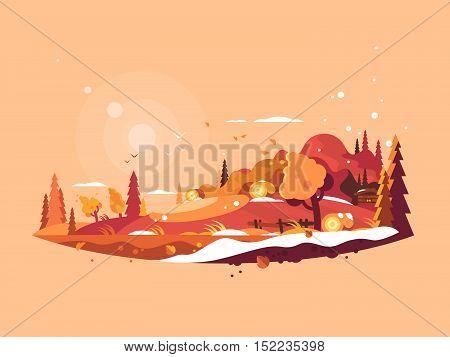 Landscape autumn vector. Autumnal nature and falling golden leaves illustration