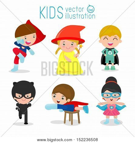 Kids With Superhero Costumes set, Superhero Children, Superhero Kids, kids in Superhero costume characters isolated on white background, Cute little Superhero Children collection, Superhero child.