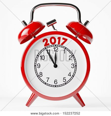 New year 2017 as text on red alarm clock (3D Rendering)