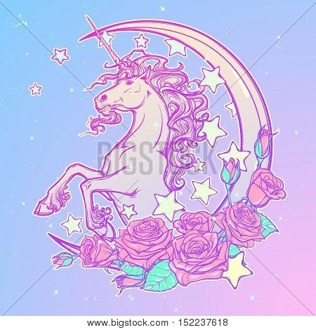 Kawaii Night sky composition with Unicorn Roses, , stars and moon crescent. Festive background or greeting card. Pastel goth palette. Cute girly gothic style art. EPS10 vector illustration