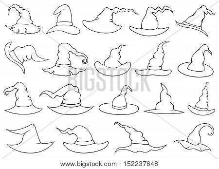 Set of different witch hats isolated on white