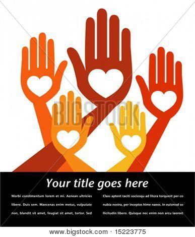 Hilfreiche Hände mit Kopie Raum Vektor.