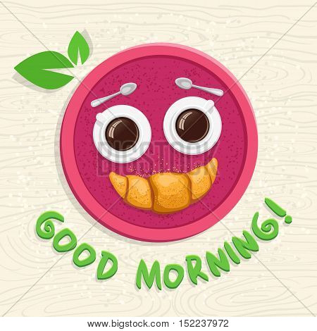 Good Morning! Two Cups Of Coffee With A Croissant On A Tray. Funny Cartoon Vector Illustration.