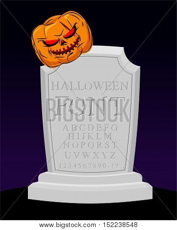 Halloween Font. Carved Alphabet. Letters On Tombstone. Sepulchral Tomb Lettring. Pumpkin And Grave.