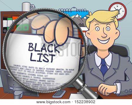 Man in Suit Looking at Camera and Showing Concept on Paper Black List Concept through Lens. Closeup View. Colored Doodle Illustration.