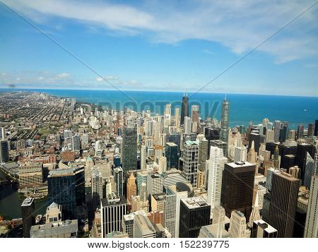 View of the city of Chicago from high building in the city.