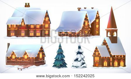 Christmas. Cottages, country houses. Festive Christmas decorations. New Year. Set of 3d vector icon